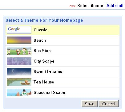 Google Theme Chooser