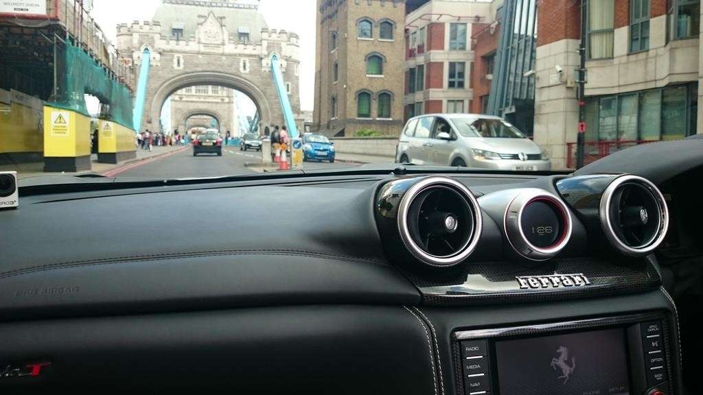Ferrari across Tower Bridge