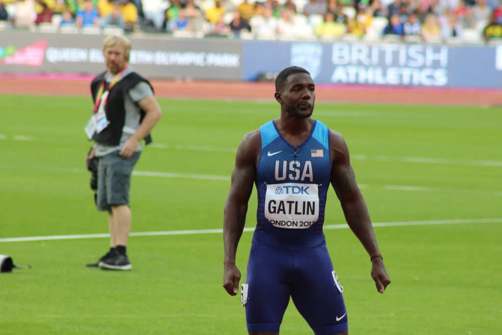 Gatlin, before 100m semis
