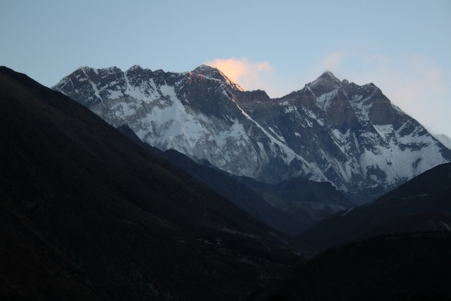 Dawn light on Everest