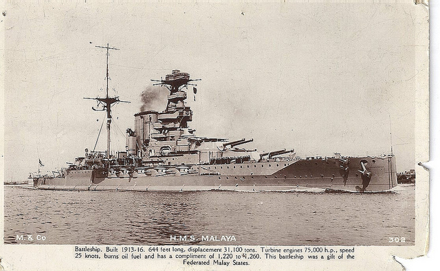Post card of HMS Malaya