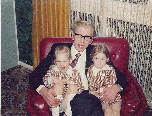 My sister and I, with Granddad, in the 19702.