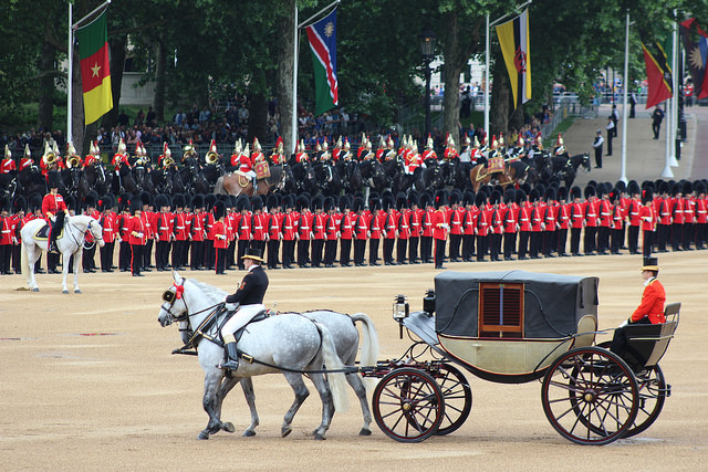 A carriage pulle dby two grey horses, making its way across Horse Guards parade in front of a line of red jacketed soldiers