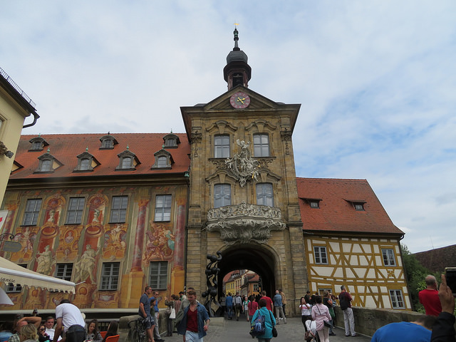A gate in Bamberg. Tower standing guard at the end of a bridge