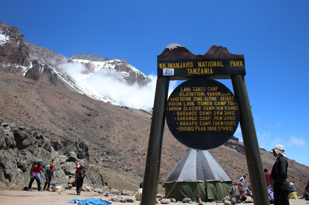 Lava tower Camp sign, detailing distances to next camps, with Kibo slopes behind