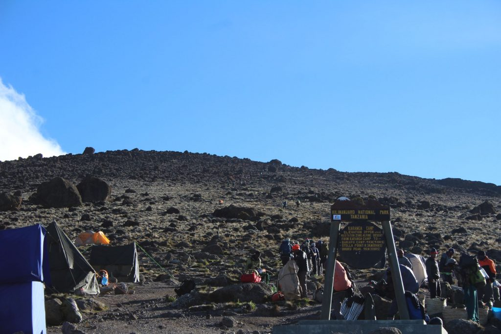 A look at the hill up from Karanga Camp as the groups start heading up