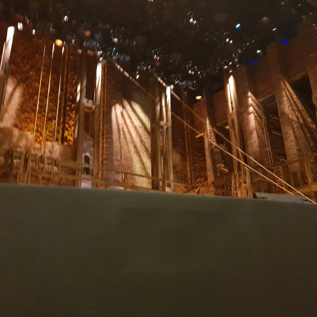 A view from the stage from the front row of Hamilton, empty s it's before the show starts