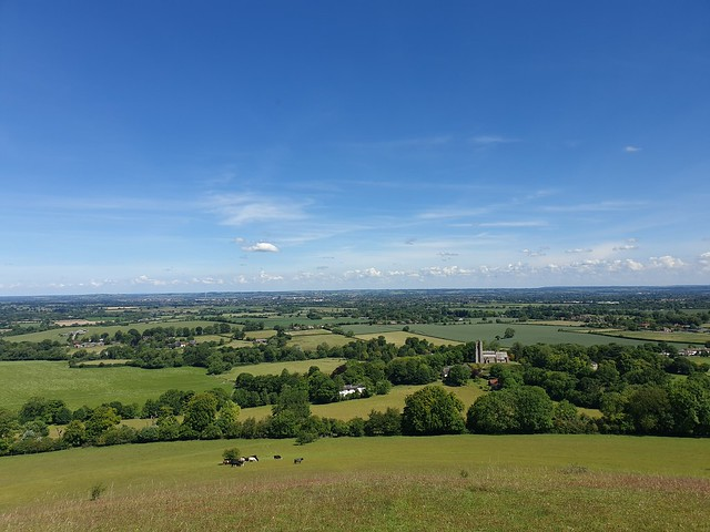 View from Beacon Hill, with green fields and blue skies
