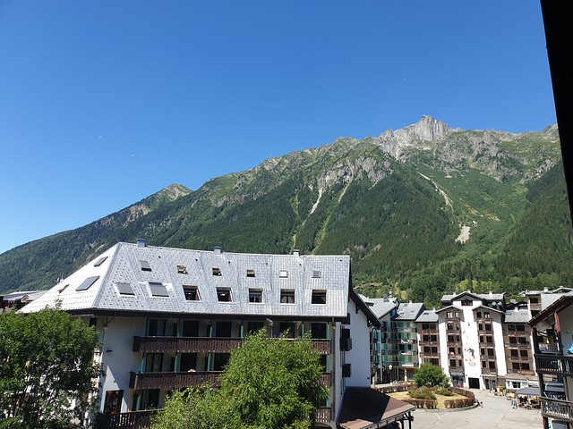 View up into the mountains from apartment in Chamonix