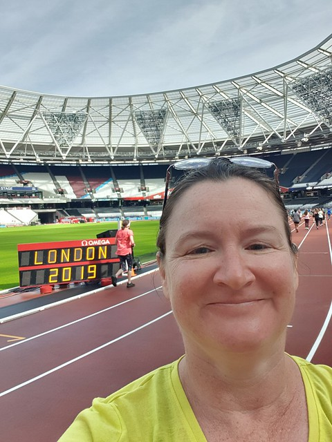 A selfie of me in the Olympic Stadium, on the track