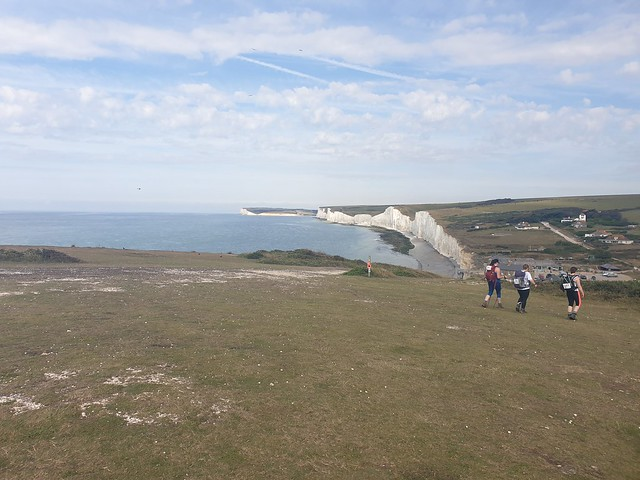 a view of the Seven Sisters chalk cliffs, looking west across the coast,